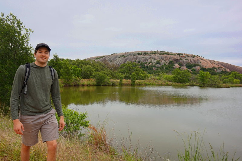 Posing next to Enchanted Rock